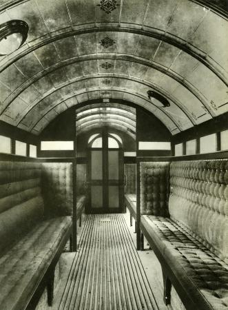 Related object: b/w glass neg, Interior view of a City & South London Railway Ashbury