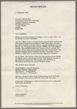 Related object: Letter; from David Hughes /Fine White Line to Jonathan Riddell, 11 Sep 1989