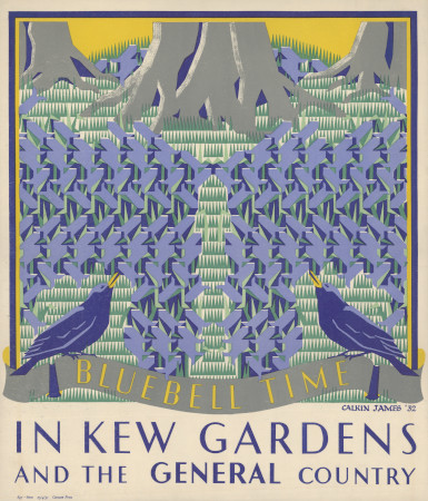 Poster; Bluebell time in Kew Gardens, by Margaret Calkin James, 1931