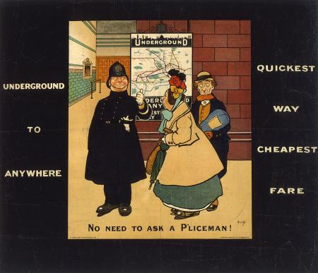 Poster; No need to ask a pliceman, by John Hassall, 1908