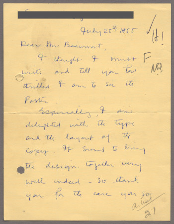 Related object: Letter; from Stella Marsden to Bryce Beaumont about her poster design, 25 July 1955