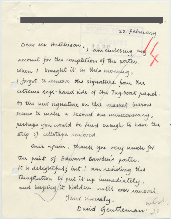 Related object: Letter; from David Gentleman to Harold Hutchison about his current poster design, 22 February 1956
