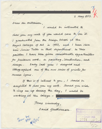 Related object: Letter; from David Gentleman to Harold Hutchison inviting him to see his work, 2 May 1955