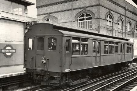 B/w print; q23-stock single railcar at acton town station, dr heinz zinram, 1958