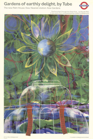 Poster; Gardens of earthly delight, by Tube, by Pascale Petit, 1990