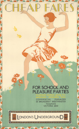 Poster; Cheap fares for school and pleasure parties, by Freda Lingstrom, 1929