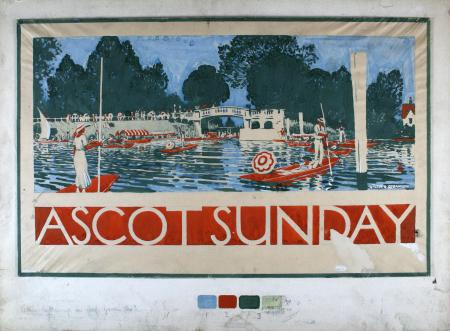 Related object: Poster artwork; for panel poster, Ascot Sunday, by Walter E Spradbery, 1924