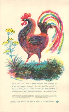 Poster; country walks; cockerel, by victoria davidson, 1959