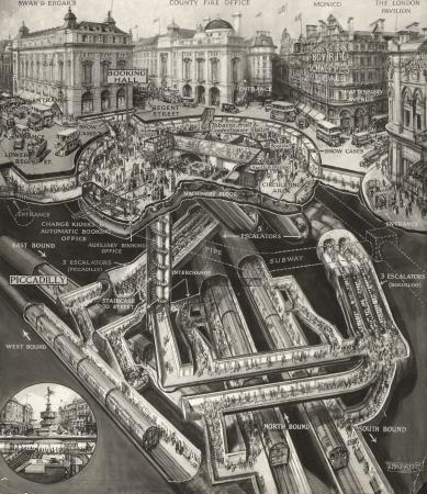 Poster artwork; piccadilly circus station; stomach diagram, by douglas macpherson, 1928