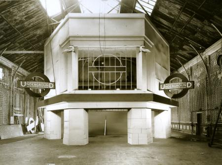 BW print; model of Clapham South Underground Station, at Earls Court, by Topical Press, 1926