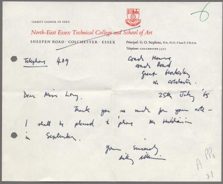 Related object: Letter; from Anthony Atkinson to Miss Long, 25 July 1965