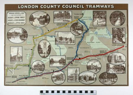 Related object: Map; By Tramway to Epping Forest, by London County Council tramway, circa 1912