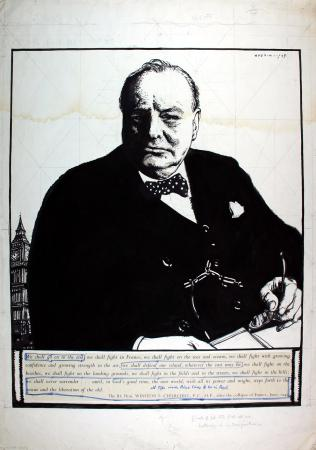 Related object: Poster artwork; Our heritage; Winston Churchill, by Robert Sargent Austin, 1943