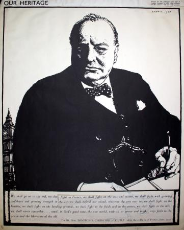 Related object: Poster artwork; Our heritage Series - Churchill, by Robert Sargent Austin, 1943