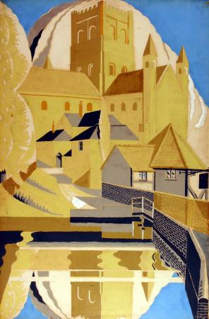 Related object: Poster artwork; St Albans Cathedral, byJohn Mansbridge, 1930
