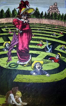 Related object: Poster artwork; Hampton Court maze, by Frederic Henri Kay Henrion, 1956