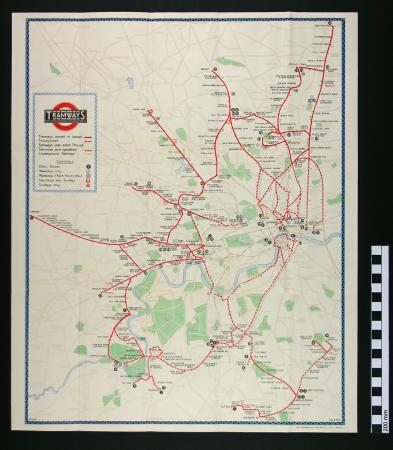 Related object: Map; Pocket tramways map, issued by London Underground, 1932