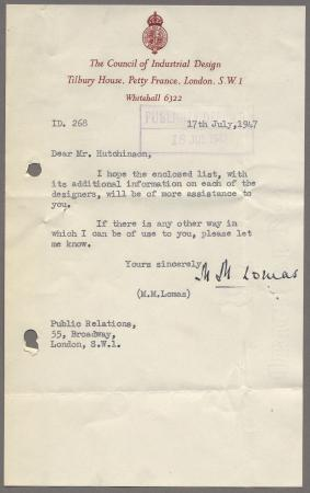 Related object: Letter; from M Lomas, Council of Industrial Design, to Harold Hutchison, 17 July 1947