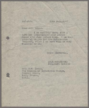 Related object: Letter; from Harold Hutchison to M Lomas, Council of Industrial Design, 29 Jul 1947
