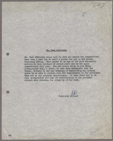 Related object: Letter; from Harold Hutchison to Paul Millichip regarding poster and testimonial, 15 April 1958