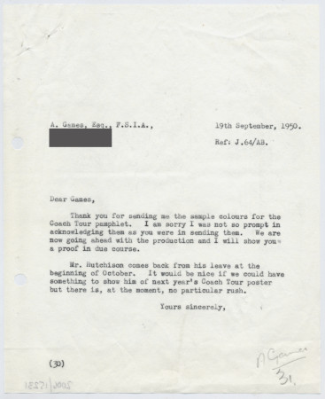 Related object: Letter; Bryce Beaumont to Abram Games, about colour sample for the coach tour pamphlet, 19 September 1950