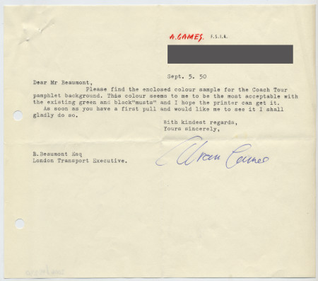 Related object: Letter; Abram Games to Bryce Beaumont about colour sample for the coach tour pamphlet, 5 September 1950