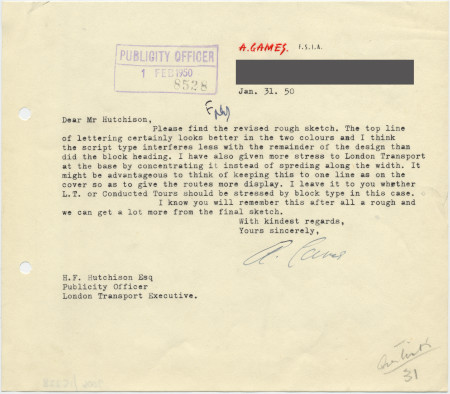 Related object: Letter; Abram Games to Harold Hutchison about a rough sketch for poster design, 31 January 1950