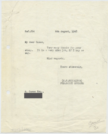 Related object: Letter; Harold Hutchison to Abram Games about his Olympic Games stamp, 6 August 1948