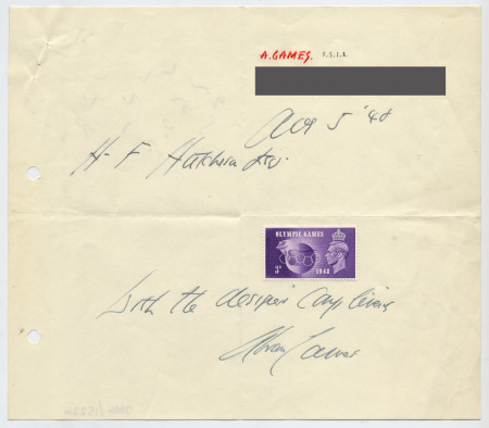 Related object: Letter; Abram Games to Harold Hutchison with copy of his Olympic Games stamp attached, 5 August 1948