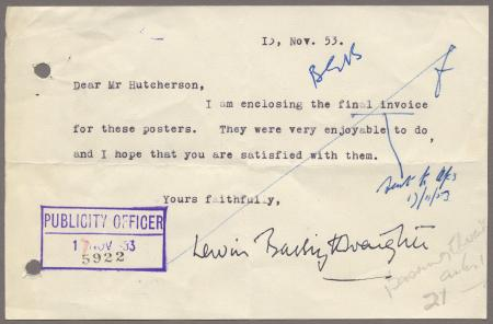 Related object: Letter; from Lewin Bassingthwaighte to Harold Hutchison about invoice for posters, 13 November 1953