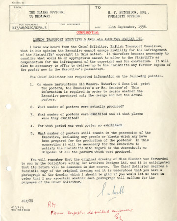 Related object: Letter; from S. A. Webb, Claims Officer, London Transport to Harold Hutchison, 11 Sep 1956