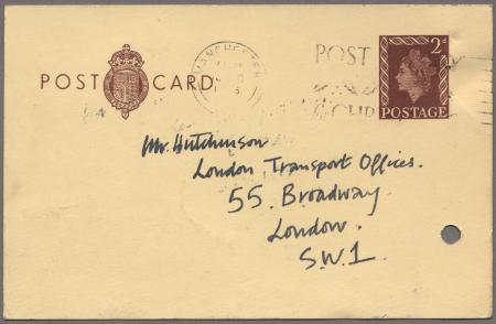 Related object: Postcard from Joan Beales to Harold Hutchison about poster, 11 December 1956
