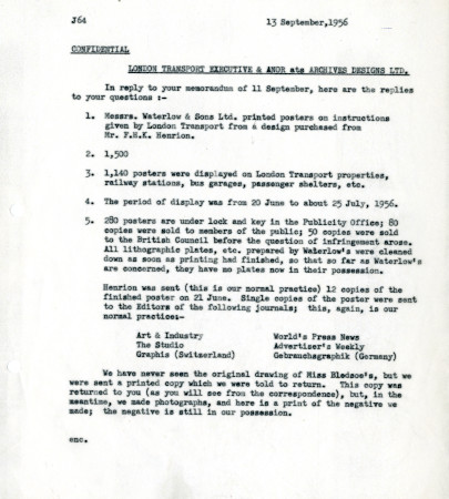Related object: Letter; from Harold Hutchison to S.A. Webb, Claims Officer, 13 Sep 1956