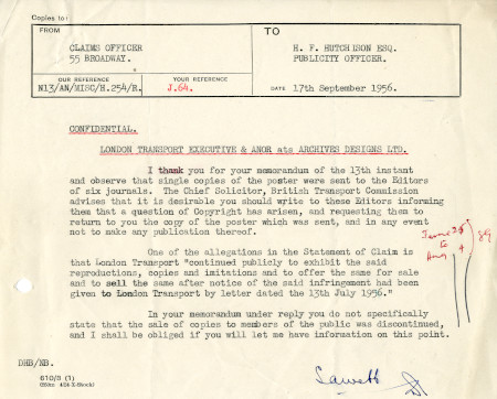 Related object: Letter; from S.A. Webb, Claims Officer to Harold Hutchison, 17 Sep 1956