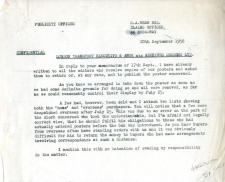 Related object: Letter; from Harold Hutchison, Publicity Officer to S.A. Webb, Claims Officer, 20 Sep 1956