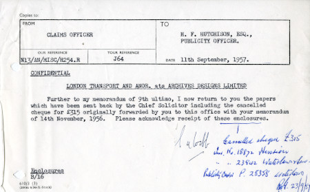 Related object: Letter; from S.A. Webb, Claims Officer to Harold Hutchison, Publicity Officer, 11 Sep 1957