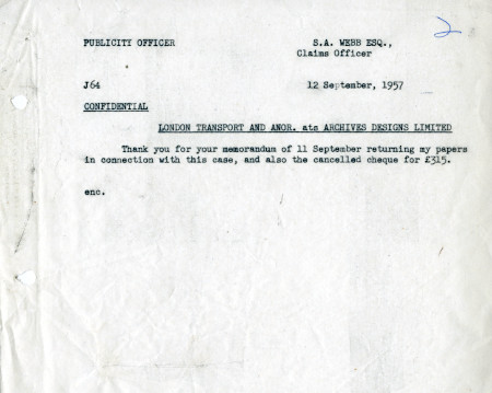 Related object: Letter; from  Harold Hutchison, Publicity Officer to S.A. Webb, Claims Officer, 12 Sep 1957