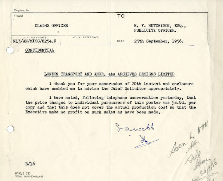 Related object: Letter; from S.A. Webb, Claims Officer to Harold Hutchison, Publicity Officer, 25 Sep 1956