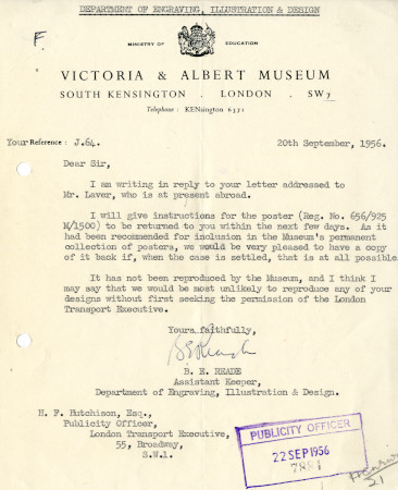 Related object: Letter; from B.E. Reade, Assistant Keeper, Dept of Engraving, Illustration and Design, Victoria and Albert Museum to Harold Hutchison, Publicity Officer, 20 Sep 1956