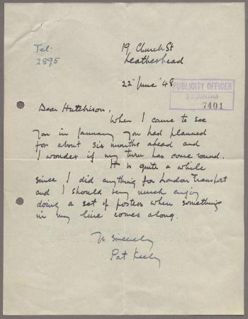 Related object: Letter; from Pat Keely to Harold Hutchison enquiring about future work, 22 June 1948