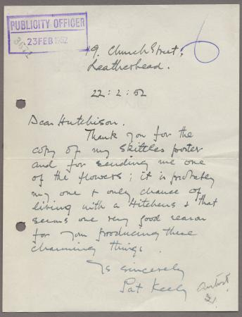 Related object: Letter; from Pat Keely to Harold Hutchison requesting a copy of his poster for an exhibition in Stockholm, 22 February 1952