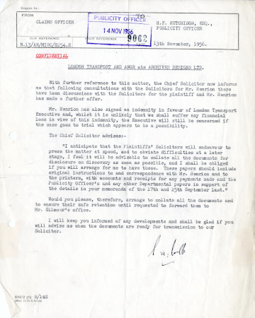 Related object: Letter; from  S.A. Webb, Claims Officer to Harold Hutchison, 13 Nov 1956