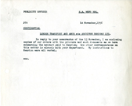 Related object: Letter; from Harold Hutchison to S.A. Webb, Claims Officer, 14  Nov 1956