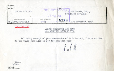 Related object: Letter; from S.A. Webb, Claims Officer to Harold Hutchison, 21  Nov 1956