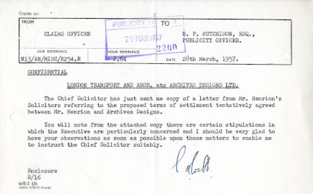 Related object: Letter; from S.A. Webb, Claims Officer to Harold Hutchison, 28 Mar 1957
