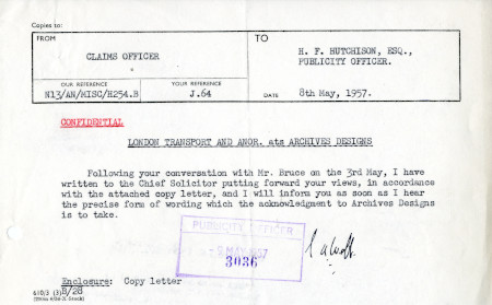 Related object: Letter; from S.A. Webb, Claims Officer to Harold Hutchison, 8 May 1957