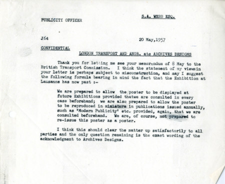 Related object: Letter; from Harold Hutchison to S.A. Webb, Claims Officer, 20 May 1957