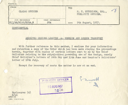 Related object: Letter; from S.A. Webb, Claims Officer to Harold Hutchison, 9 Aug 1957