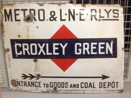Station name sign; sign from croxley green station coal & goods depot, 1923 - 1933