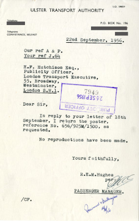 Related object: Letter; from R.E.M. Hughes, Passenger Manager, Ulster Transport Authority to Harold Hutchison, 22 Sep 1956